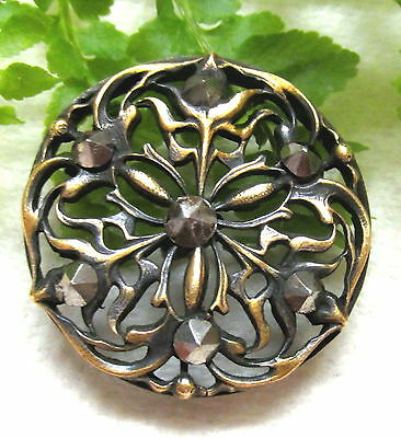 Beautiful Victorian Cut Steel Button W/ Open Work Design Q41