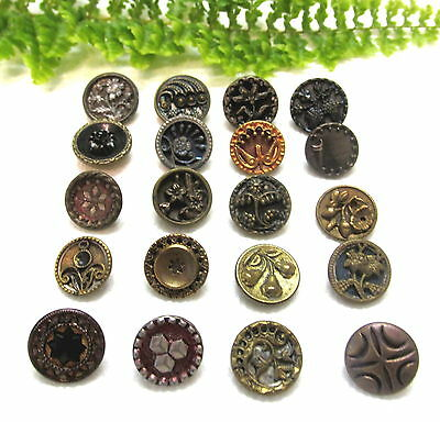 Lot Of 20 Small Victorian Metal Buttons W/ Different Designs Q60
