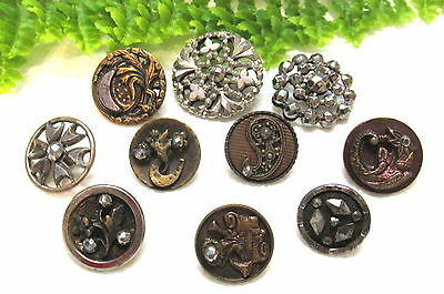 Lot Of 10 Victorian Cut Steel Buttons ~ Moon~Dragon~Flowers Q61