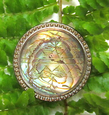 Colorful Victorian Etched Pearl Button W/ Metal Setting Q65