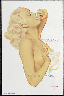 1940's Alberto Vargas Authentic Pin-Up Poster Art Print 11x17 Nude Lily Flower