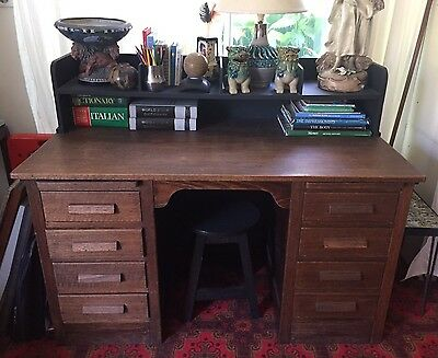 Antique Vintage Oak Timber Wooden  Desk
