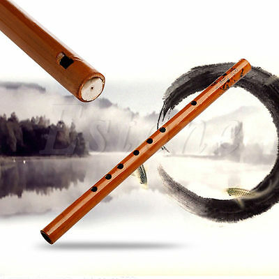 Traditional Wood Color 6 Hole Bamboo Flute Clarinet Student Musical Instrument