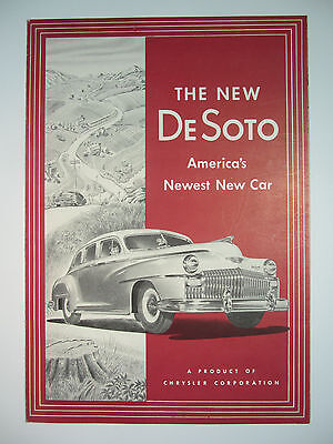"1946 DeSoto Car Dealer Sales Brochure - Division of Chrysler Unfolds to 27"" Vtg"