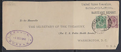 BB161031  UNITED STATES CONSULATE = CENSORED WWI Durban South Africa 1914 KGV