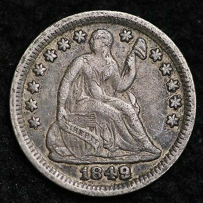1849 Seated Liberty Half Dime CHOICE XF FREE SHIPPING E157 EE