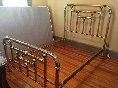 Full-Size Vintage - Antique Antique Brass Bed Frame With Iron Side Rails