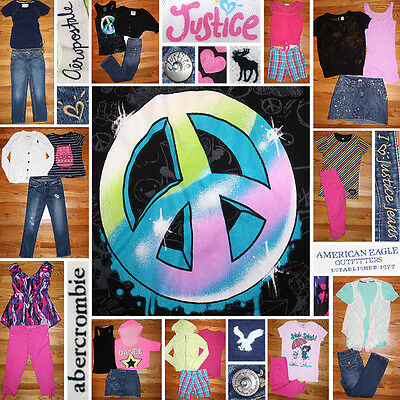 Girls Size 12/14 Spring Clothes Lot, Jeans, Tops, Justice, Aero, Eagle++