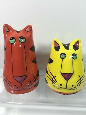 CATZILLA By Candace Reiter, Colorful CAT Salt And Pepper Shaker Pair Set of 2