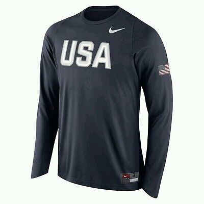 Nike 2016 Rio Olympic Team USA Player Long Sleeve Shooter Shirt Navy Large