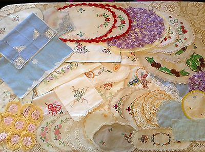 Bulk 54 Beautiful Colourful Vintage Embroidered Doilies Hand Towels Duchess Sets