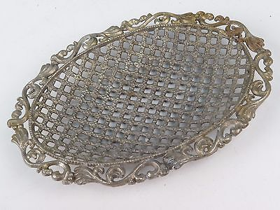 Vintage Metal Soap Dish Holder Bathroom Accessory Open Weave Footed Charmer
