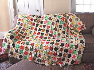 VTG Granny Square Crochet Afghan Blanket Handmade Off White Multi Color 81x88