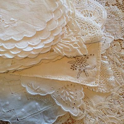 Stunning Lot Of 15 Vintage White Lace Linen Battenburg Doilies Table Ware Napery