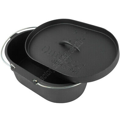 Outdoor Connection Pre-Seasoned 10 qt Oval Cast Iron Camp Oven- Camping 4wd