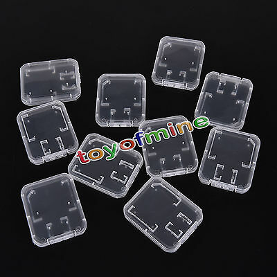 10pcs Plastic Transparent Standard SD SDHC Memory Card Case Holder Storage Box
