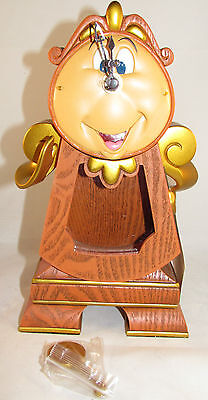 """Disney Parks Beauty and the Beast Cogsworth Working Clock 10"""" Figure Brand New"""