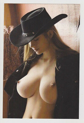 Postcard Nude Pinup Sexy Cow Girl Topless Breast Stunning Western Post Card 7039