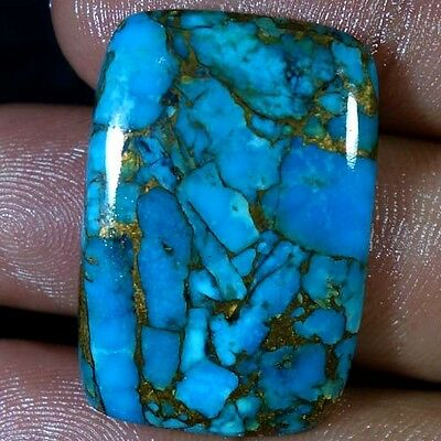 41.00Cts. Spider Web Natural Blue Copper Turquoise Cushion Cabochon Gemstones