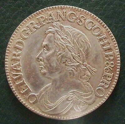 1658 Cromwell Halfcrown Copy.  (FREE UK POSTAGE AVAILABLE)