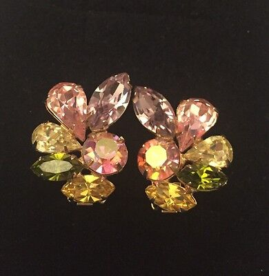 Vntg WEISS Glass Rhinestone AB Clip Earrings Bride Pinks Light Greens Champagne