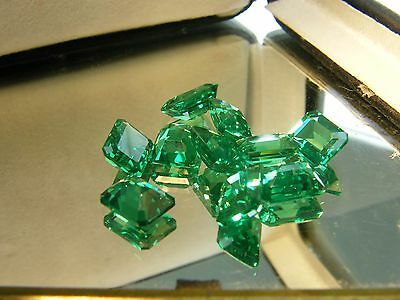 16cts Lab created synthetic emerald  fine  octagon 8X6 mm 10 pcs ( us seller)