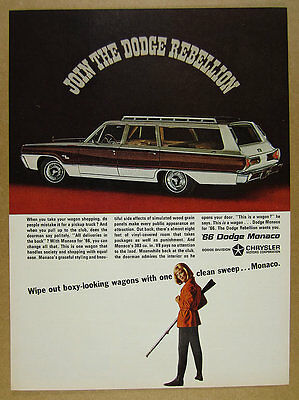 1966 Dodge Monaco Station Wagon car photo vintage print Ad
