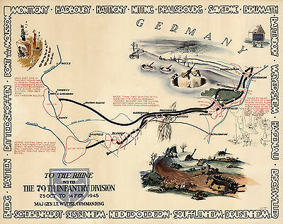 1945 Pictorial WWII Military War Map TO THE RHINE 79th Infantry Division Poster