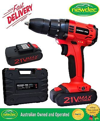 New Heavy Duty 21V Cordless Drill Screwdriver Kit Storage Case Li-Ion