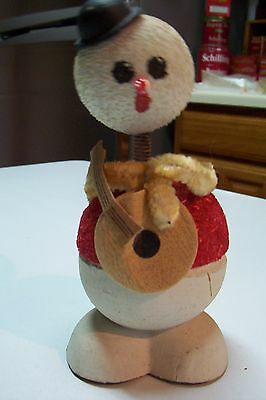 """Vintage Christmas Snowman Candy Container 6"""" Nodder w/Banjo Excellent Condition"""