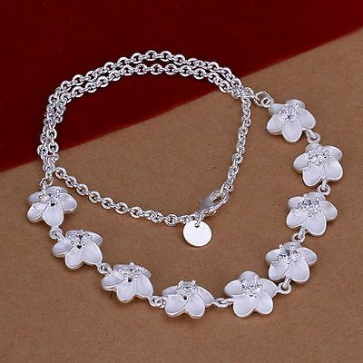 Fashion 925Sterling Solid Silver Jewelry Crystal Flower Necklace For Women N149