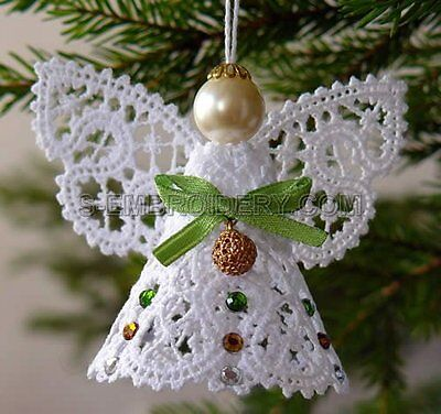 Machine embroidery digital file Christmas Angels