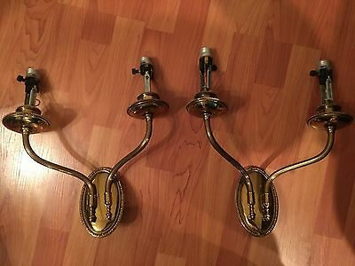 Vintage Sconces matched pair 1930s brass wall lights RARE OLD