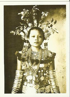 Sarawak Series - A Young Iban Girl in the full ceremonial dress -  Postcard