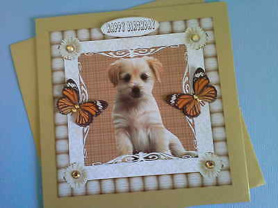 Puppy and Butterflies with gold rhinestones~HAPPY BIRTHDAY~ Handmade card 3D~