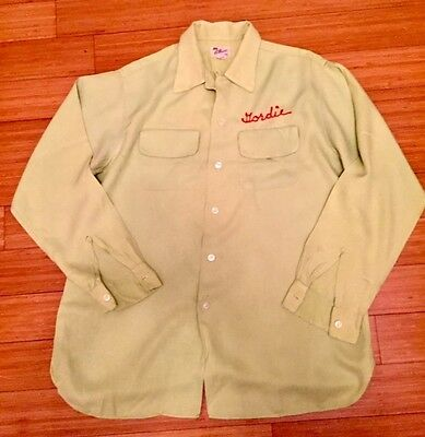 Vintage 50s L/S Gabardine Rockabilly Bowling Shirt EMBROIDERED Sz L