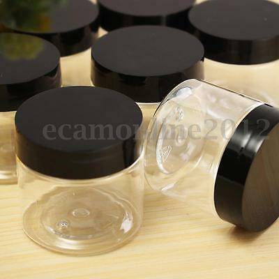 12Pcs Plastic 50g Empty Clear Containers Cosmetic Jars Cap Creams Powder Bottles