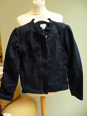 Girls Jacket Age 8 Denim By Vanessa Bruno Elbow Patch Fully Lined Indigo Bnwt