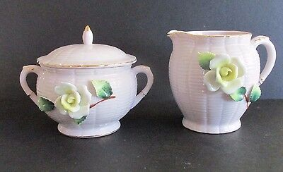 Kitsch Vintage Ceramic Milk Jug & Sugar Bowl Roses French Shabby Chic Japan