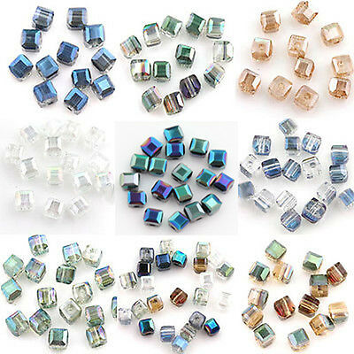50/100Pcs Faceted Cube Glass Crystal Loose Spacer Beads Jewelry Making 5mm DIY
