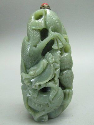 Chinese Dragon Carved Hetian Nephrite Jade Snuff Bottle