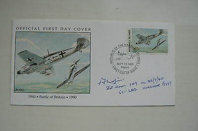 Marshall Islands (1) Cover Battle Of Britain - Signed Percy 'pete' Morfill Dfm