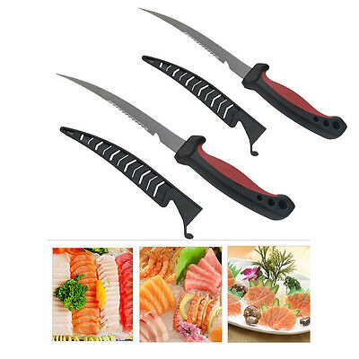 2* Fishing Hunting Knife Fillet Knife With Sheath Flexible Blade XQ