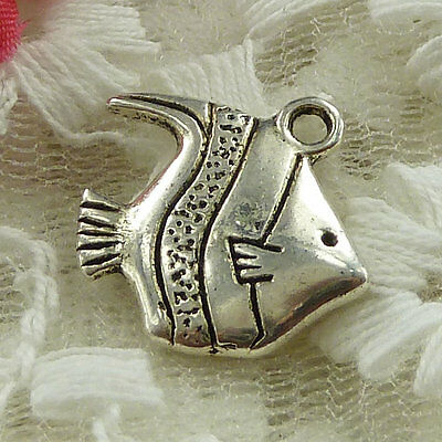 free ship 120 pieces Antique silver fish charms 17x16mm #3299