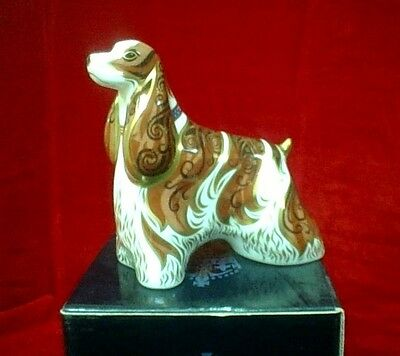 """ROYAL CROWN DERBY  """"American Spaniel""""  Large Paperweight  with Orig. Box"""