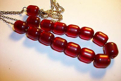 Vintage Small Strand Of Cherry Amber Bakelite Style Prayer Beads