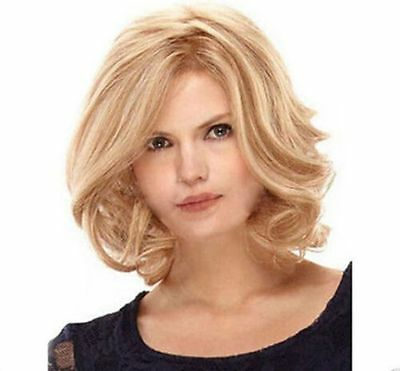 New Fashion Sexy Women's Wigs Short Blonde Curly Wavy Natural Hair Wig+Cap6