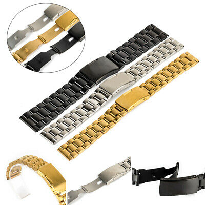 Stainless Steel Solid Links Watch Band Strap Bracelet Straight End 18/20/22/24mm