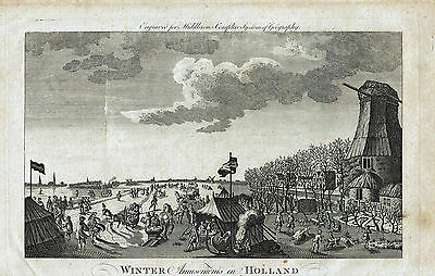 Winter Amusements in Holland -  Engraving by Charles Theodore Middleton -  c1778