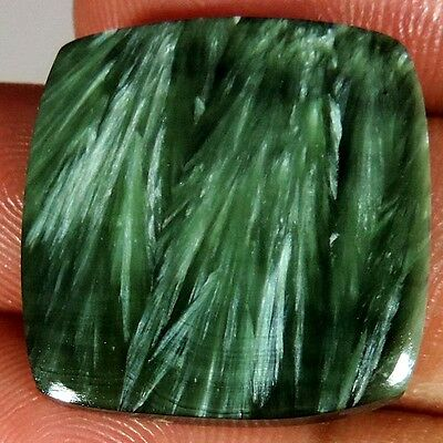 27.85Cts. 100% NATURAL DESIGNER GREEN SERAPHINITE CUSHION CABOCHON AAA GEMSTONES